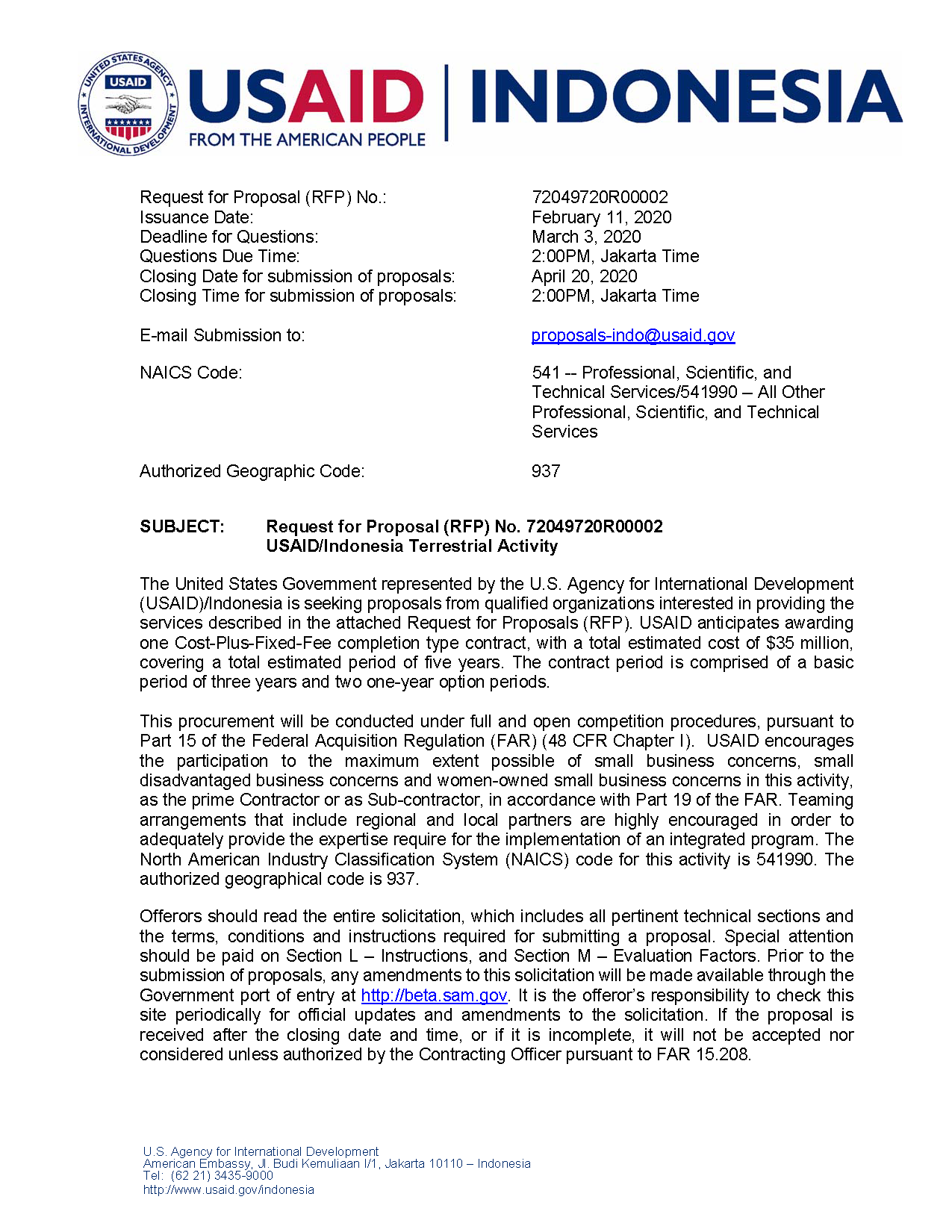 Amendment no. 01 RFP 72049720R00002 USAID/Indonesia Terrestrial Activity - Edit with Track Changes