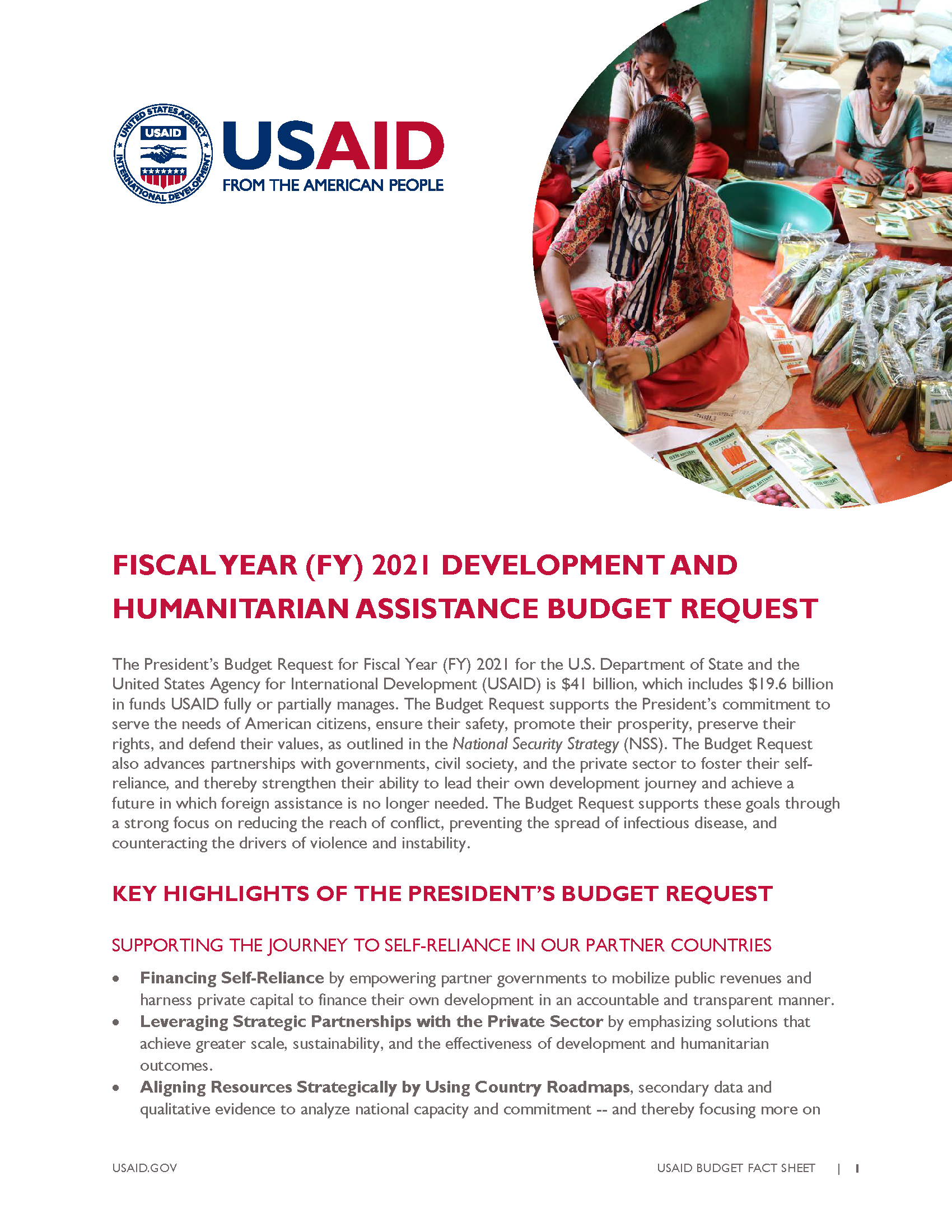 Fact Sheet: Fiscal Year (FY) 2021 Development and Humanitarian Assistance Budget