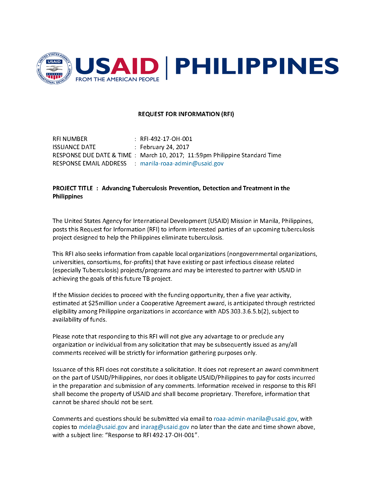 RFI-Advancing TB Prevention, Detection and Treatment in the Philippines