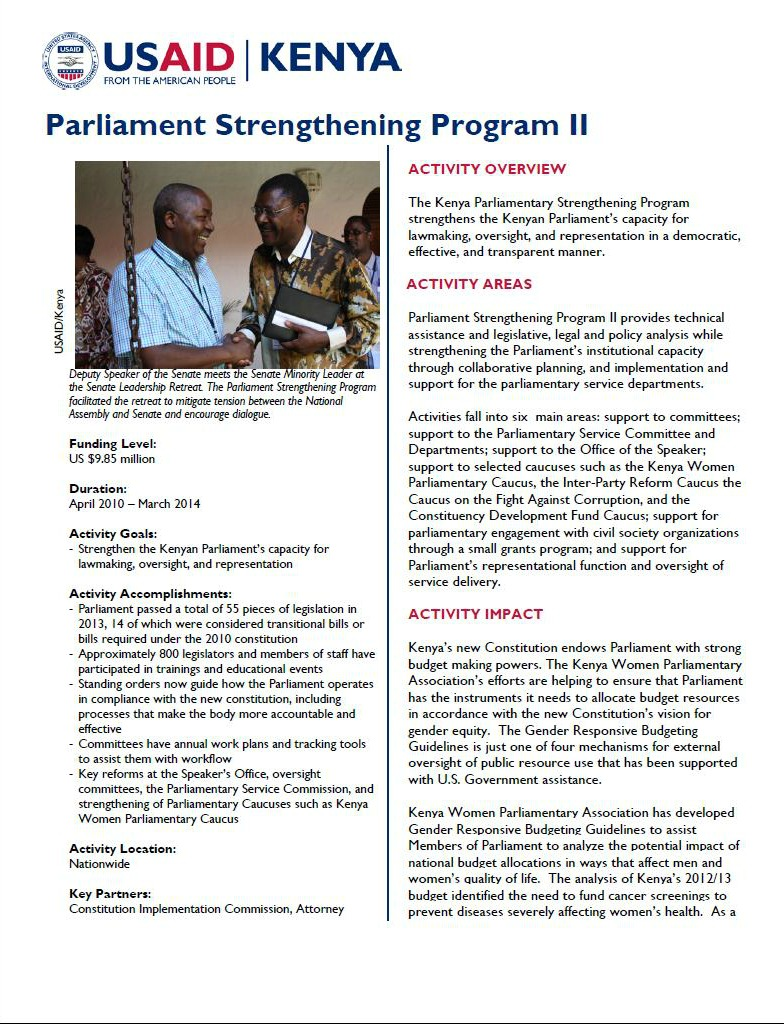 Parliamentary Strengthening II_February 2014