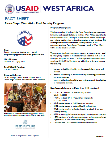 Fact Sheet on the USAID/Peace Corps West Africa Food Security Program