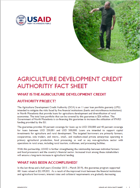 Agriculture Development Credit Authority Fact Sheet