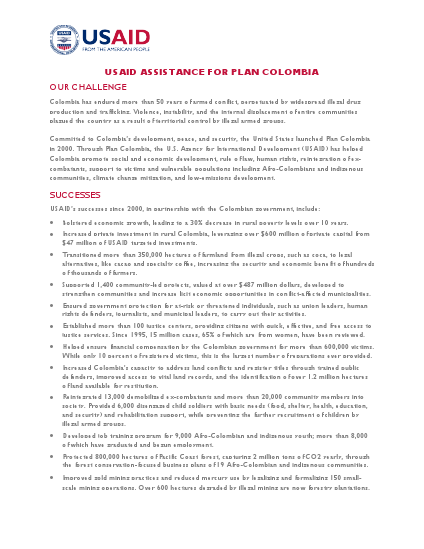 Fact Sheet: USAID Assistance for Plan Colombia