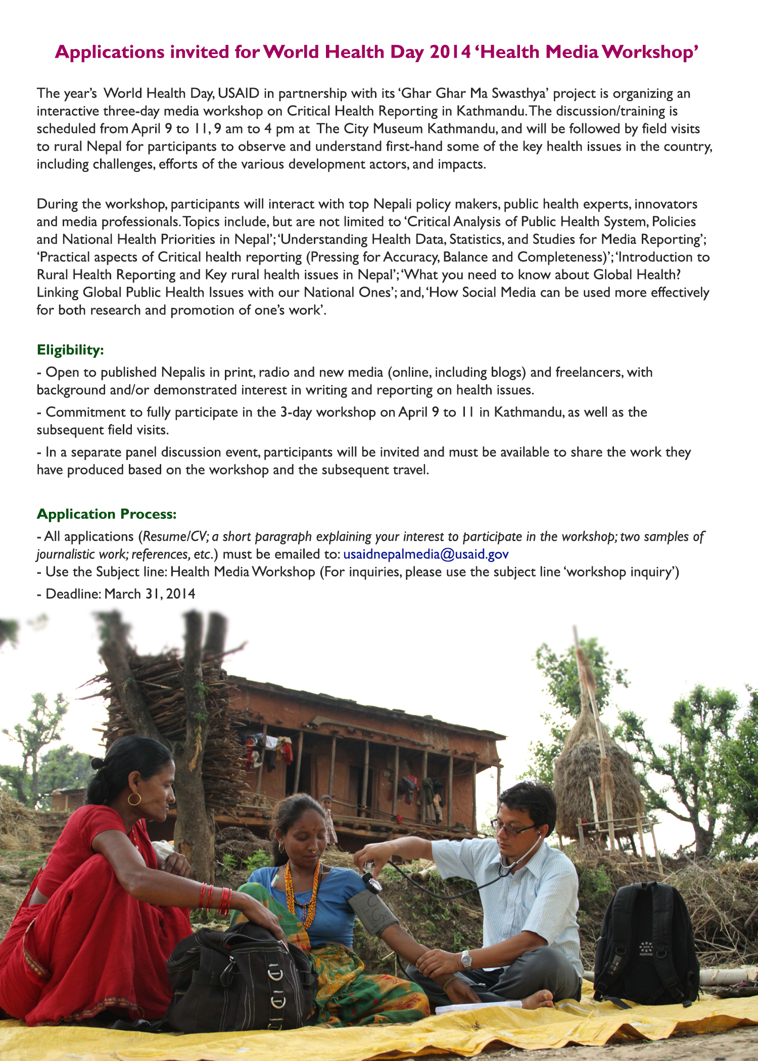 Application invited for World Health Day 2014 Health Media Workshop