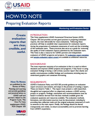 How-to Note: Preparing Evaluation Reports