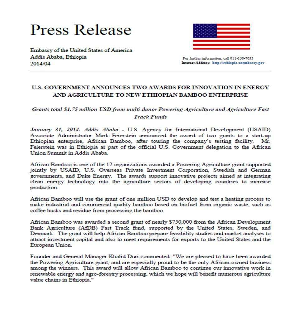 Press Release African Bamboo 1-31-14