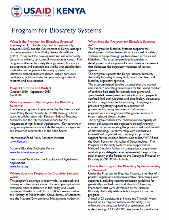 Program for Biosafety Systems Fact Sheet_updated April 2013
