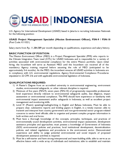USAID Project Management Specialist (Mission Environment Officer), FSN-9 / FSN-10 (Post Code: K11021)