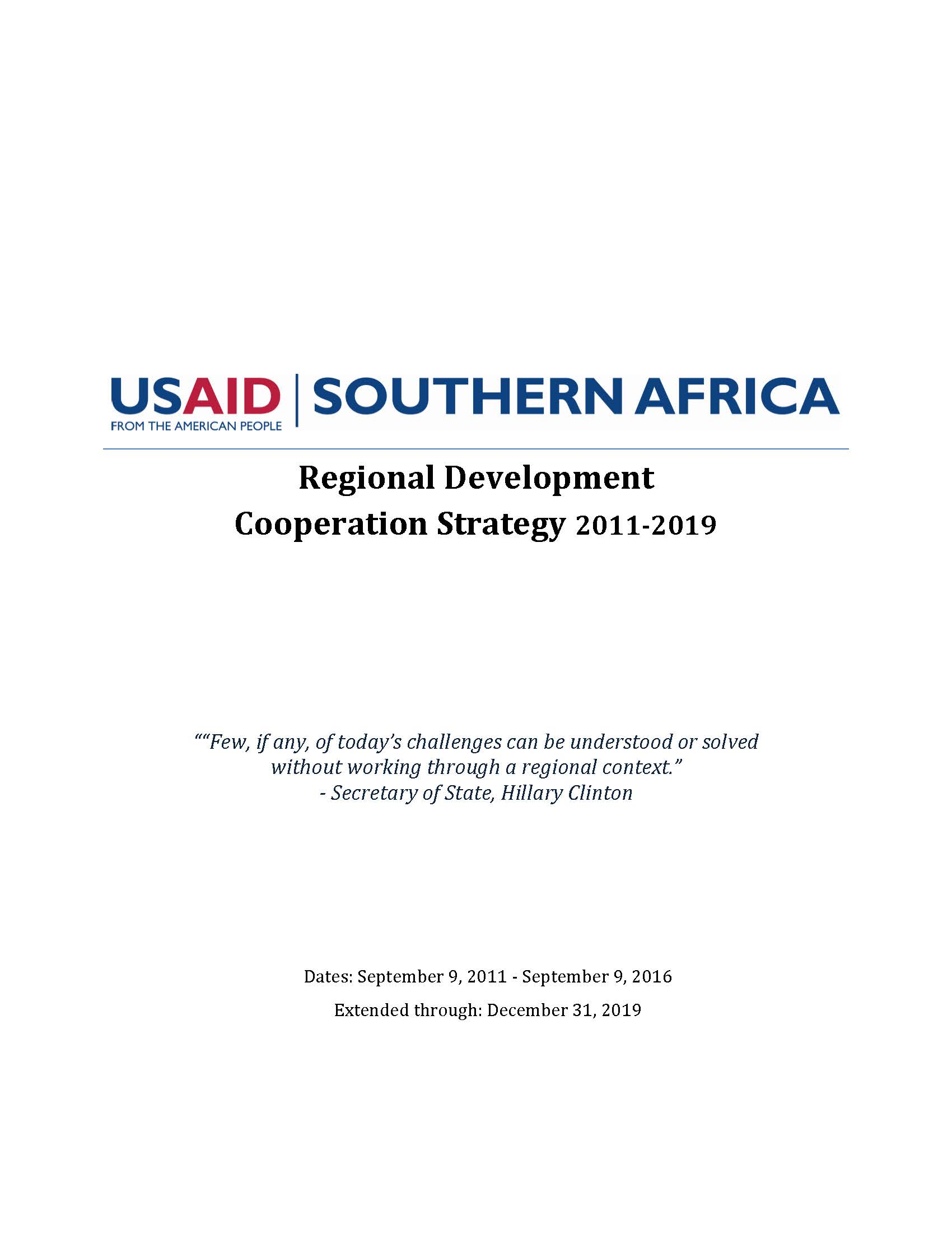 South Africa Regional Development Cooperation Strategy