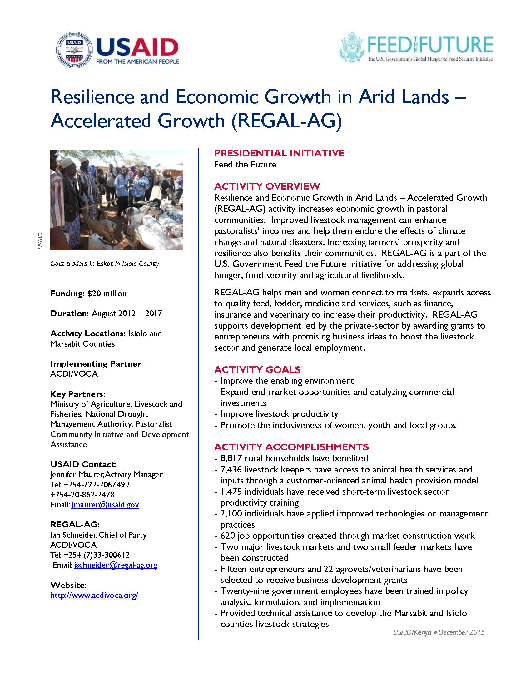 Resilience and Economic Growth in Arid Lands – Accelerated Growth (REGAL-AG)