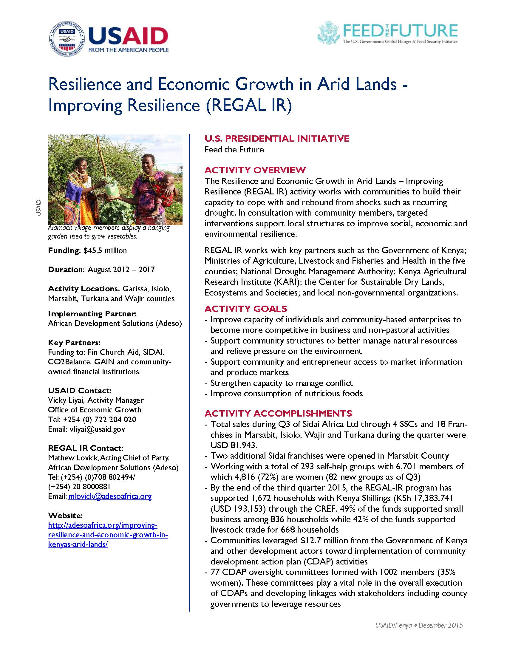 Resilience and Economic Growth in Arid Lands - Improving Resilience (REGAL IR)