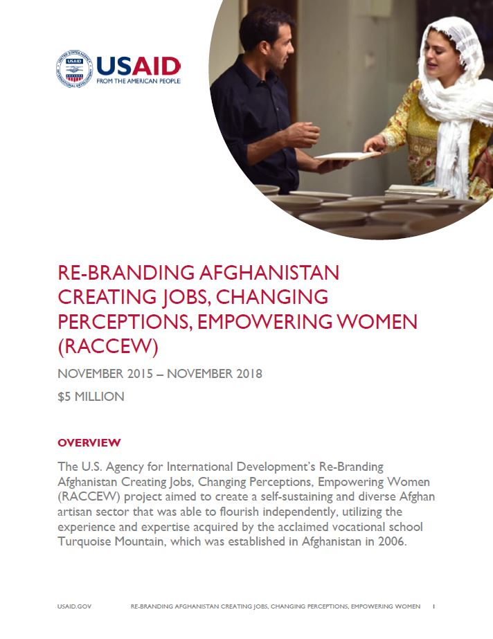 Re-Branding Afghanistan Creating Jobs, Changing Perceptions, Empowering Women (RACCEW)