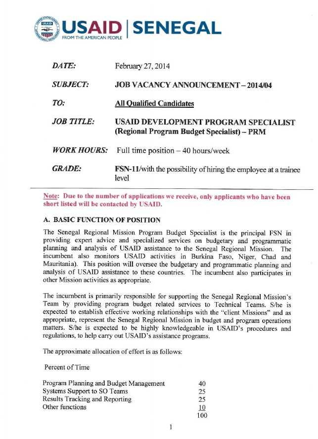 A downloadable, printable copy of the USAID Senegal vacancy announcement.