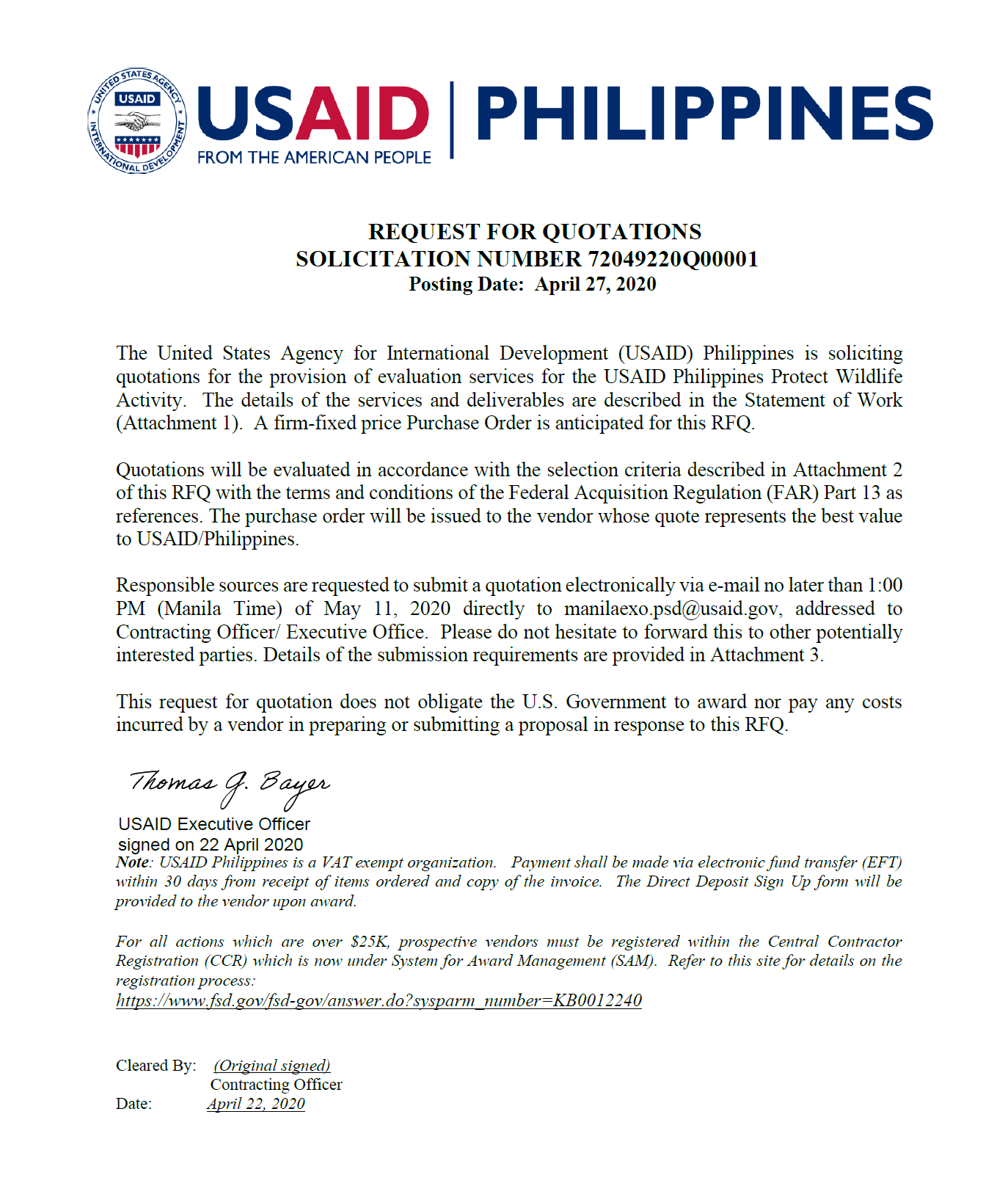 Request for Quotation: Evaluation Services for the USAID/Philippines Protect Wildlife Activity