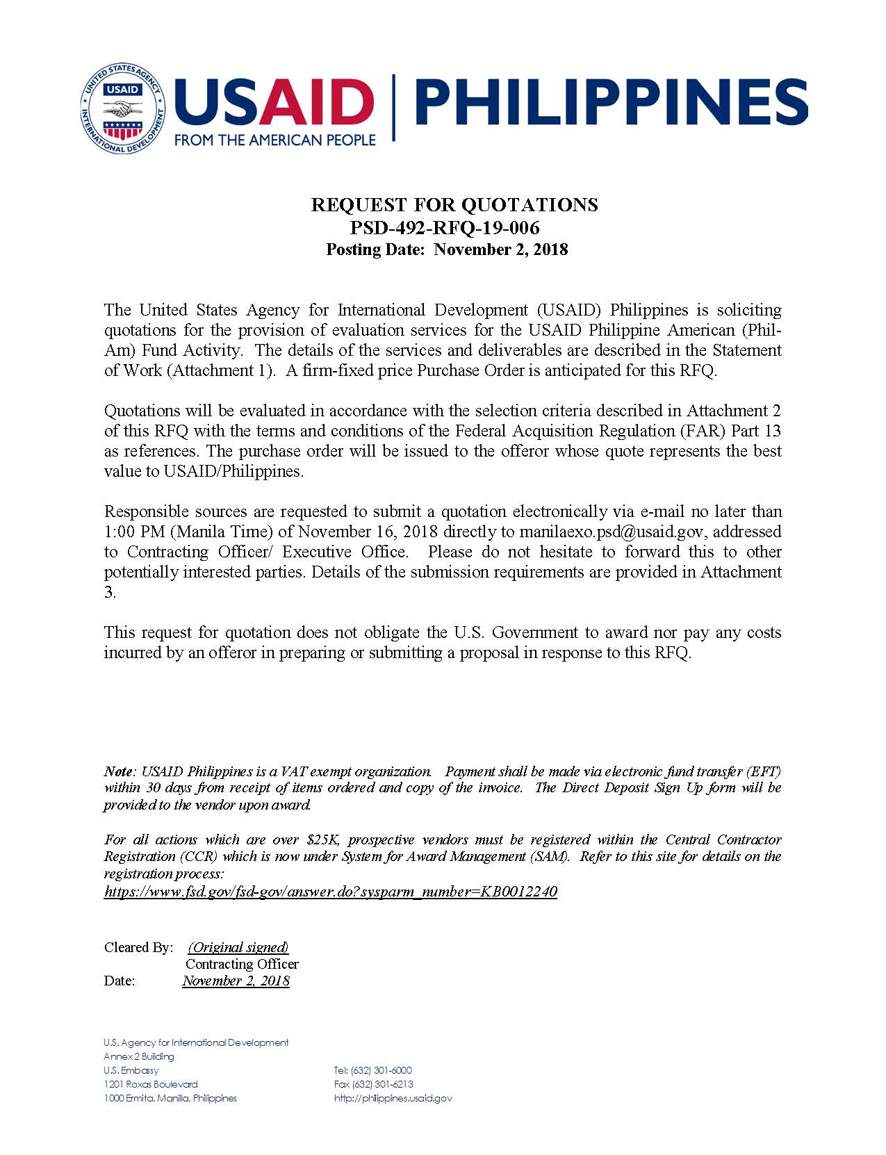 Request for Quotation: Provision of Evaluation Services for USAID Philippine American (Phil‐Am) Fund Activity