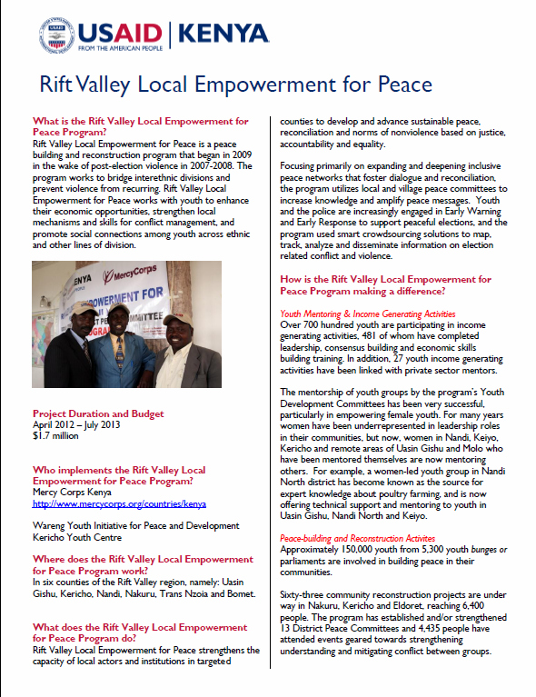 Rift Valley Local Empowerment for Peace FACT SHEET_March 2013