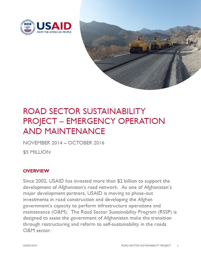 Road Sector Sustainability Project – Emergency Operation and Maintenance