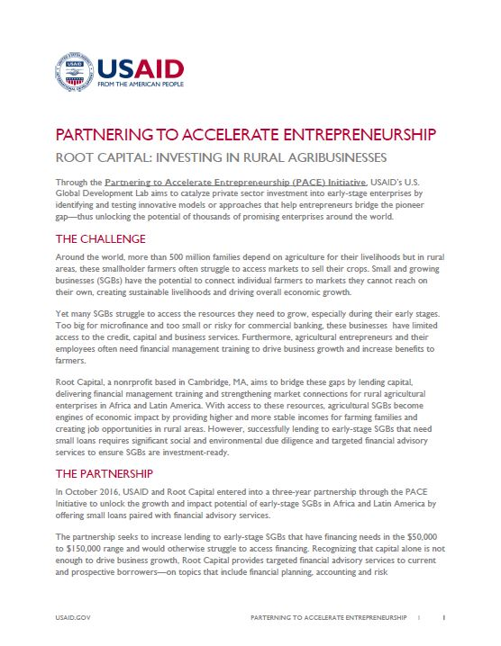 Partnering to Accelerate Entrepreneurship - Root Capital