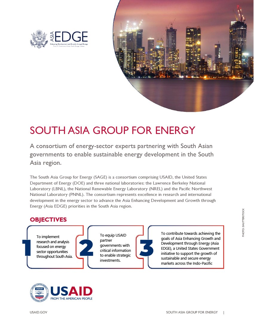 South Asia Group for Energy (SAGE) Fact Sheet