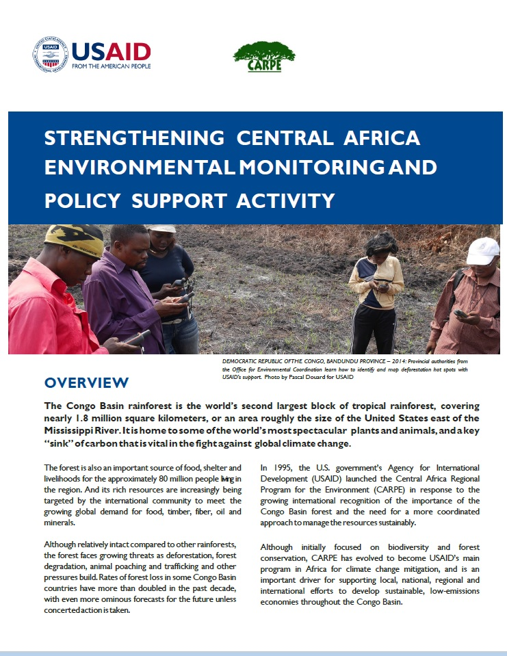 Strengthening Central Africa Environmental Monitoring And Policy Support Activity