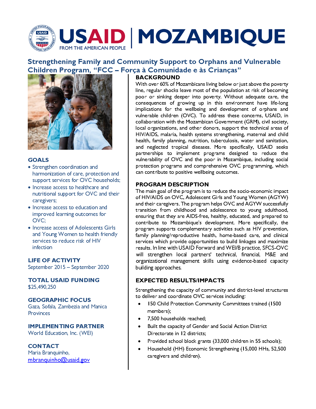 Strengthening Family and Community Support to Orphans and Vulnerable Children Program Fact Sheet