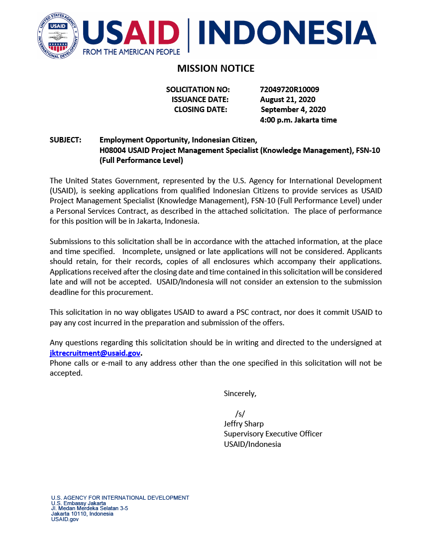 72049720R10009: USAID Project Management Specialist (Knowledge Management), FSN-10