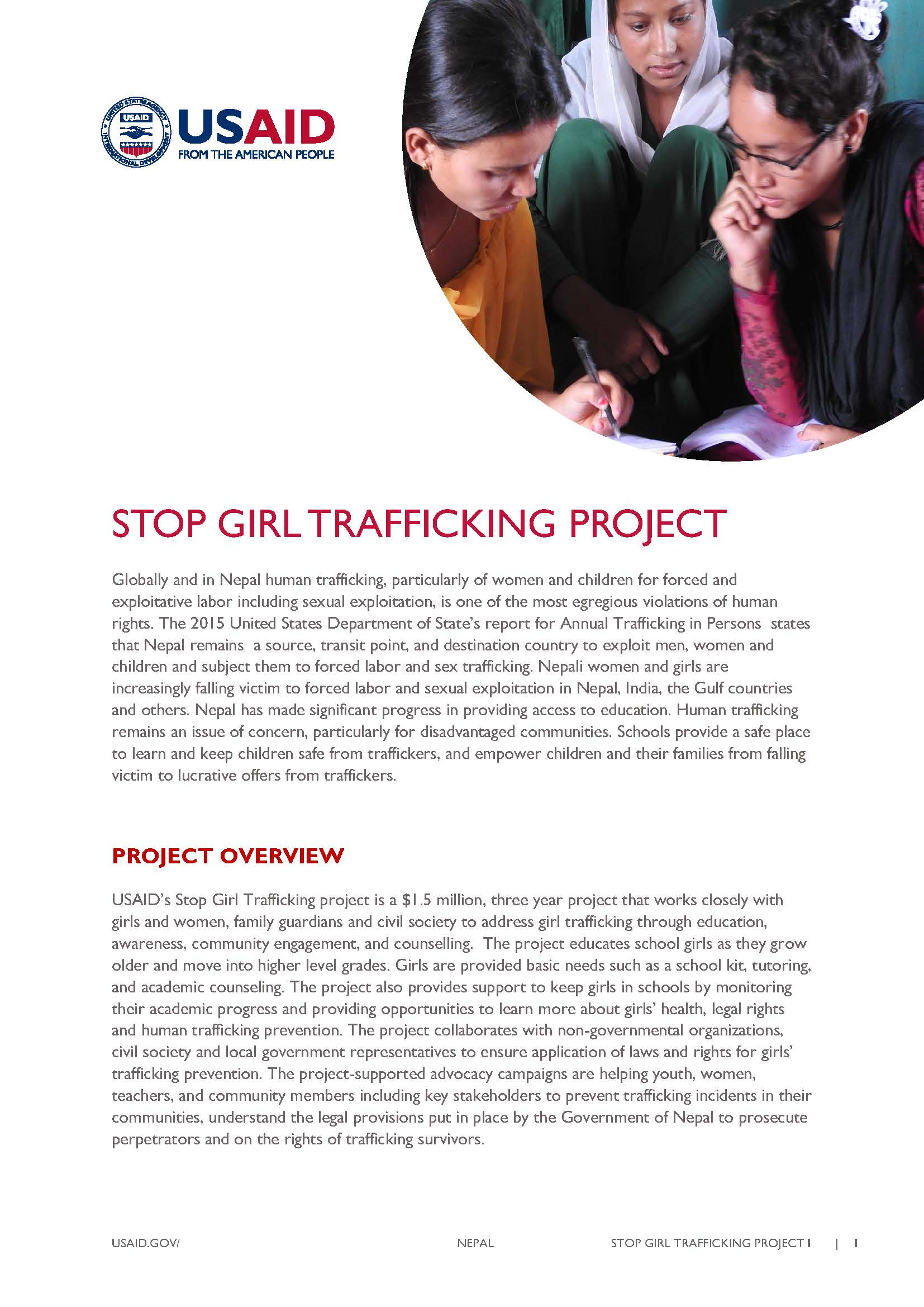 Fact Sheet: Stop Girl Trafficking Project