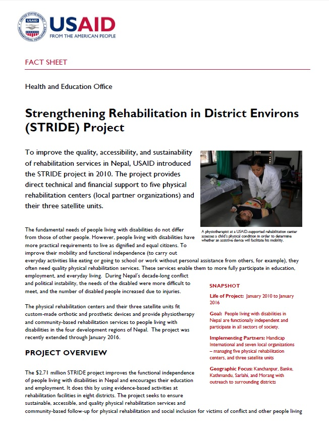 Strengthening Rehabilitation in District Environs (STRIDE) Project