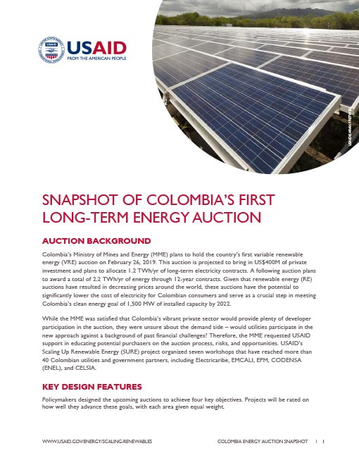 Snapshot of Colombia's First Long-Term Energy Auction