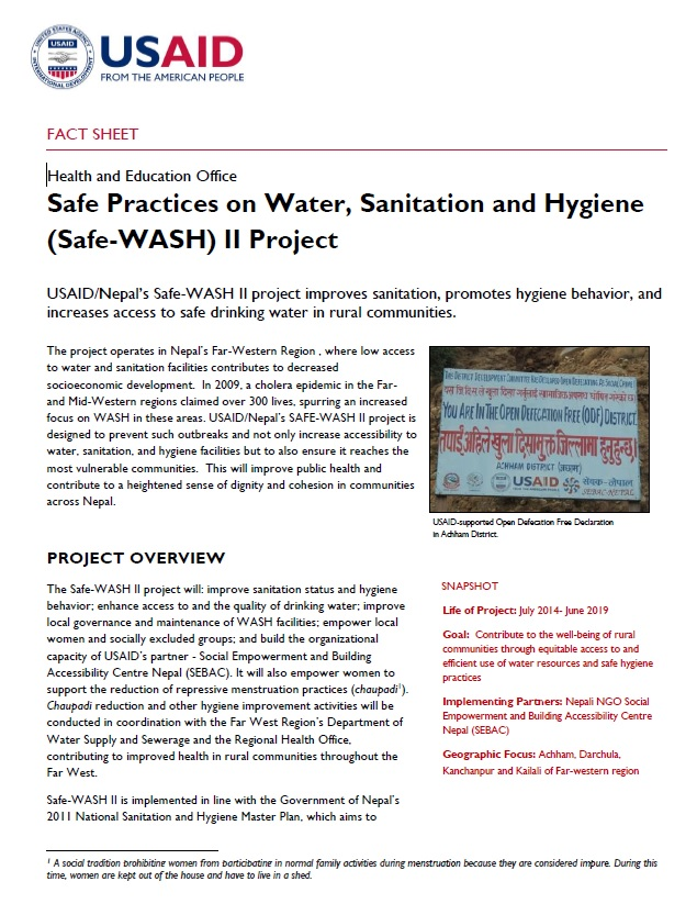 Safe Practices on Water, Sanitation and Hygiene (Safe-WASH) II Project