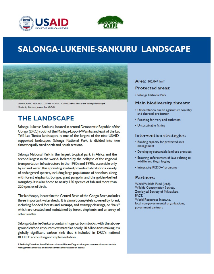 Salonga-Lukenie-Sankuru landscape Fact Sheet