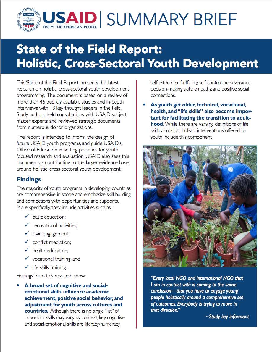 Summary Brief: Holistic, Cross-sectoral Youth Development