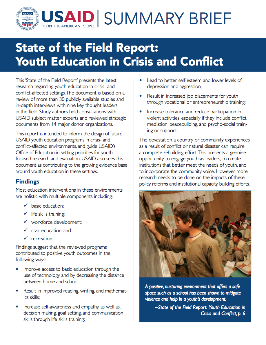 Summary Brief: Examining the Evidence in Youth Education in Crisis and Conflict