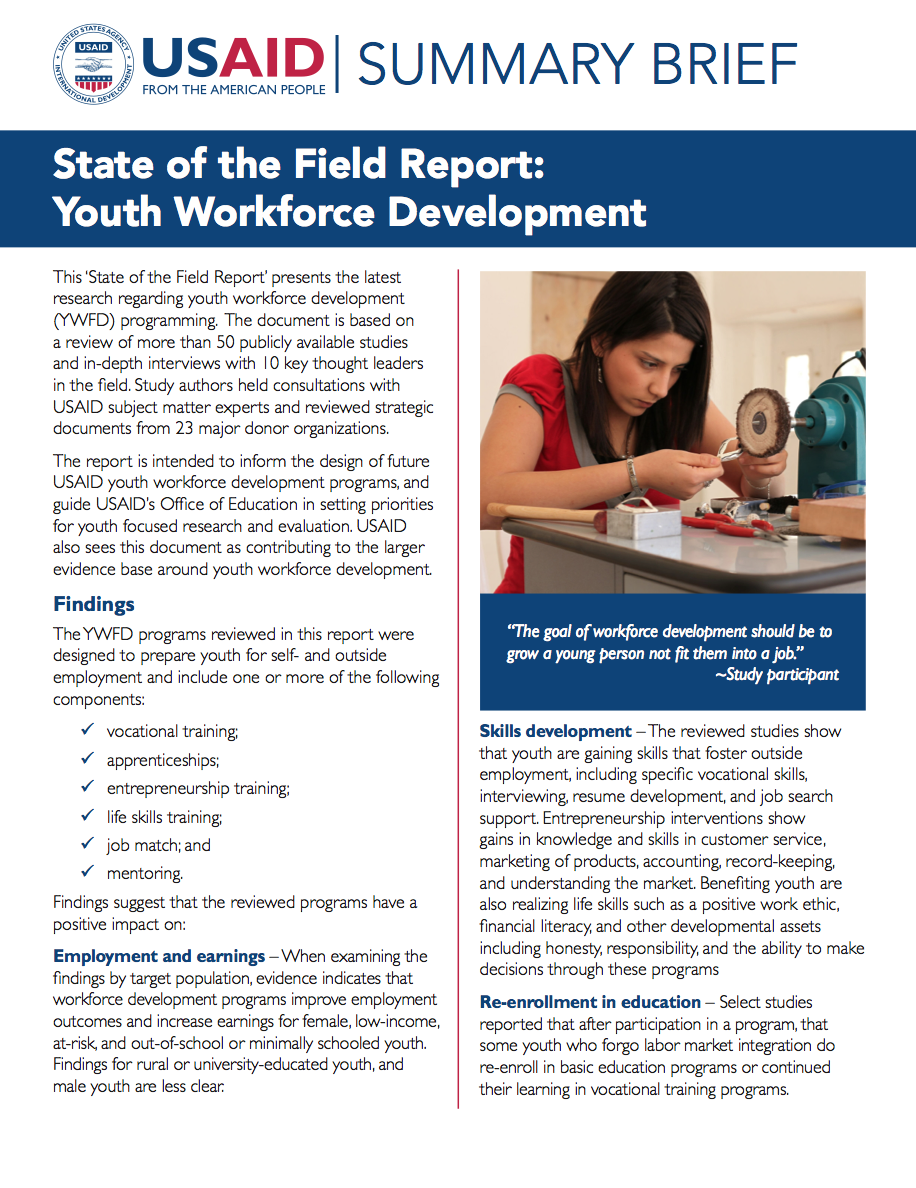Summary Brief: Examining the Evidence in Youth Workforce Development