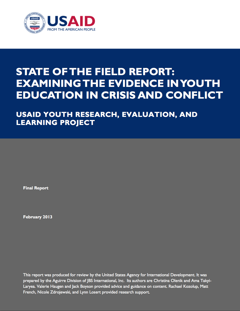 State of the Field Report: Examining the Evidence in Youth Education in Crisis and Conflict