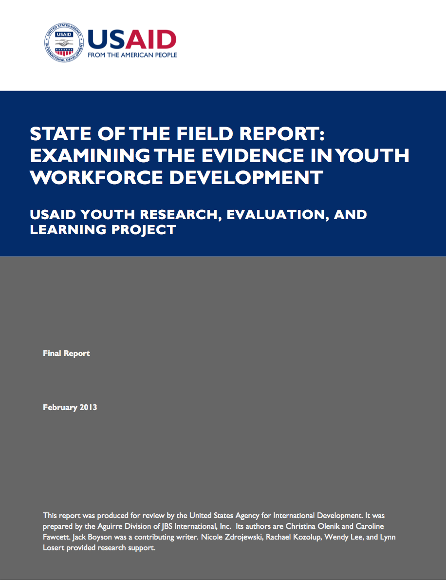 State of the Field Report: Examining the Evidence in Youth Workforce Development