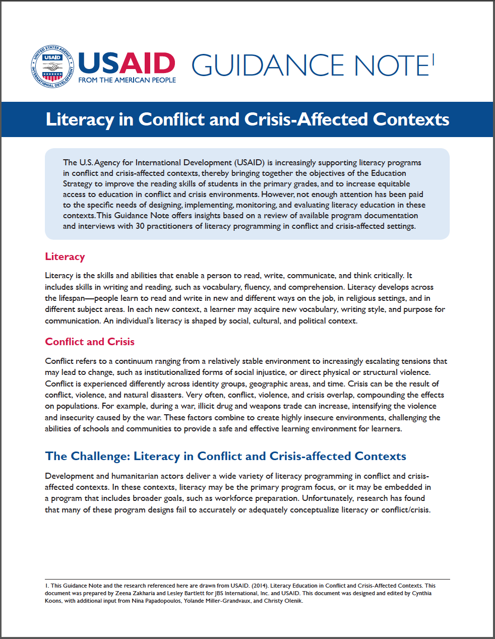 Literacy in Conflict Guidance Note
