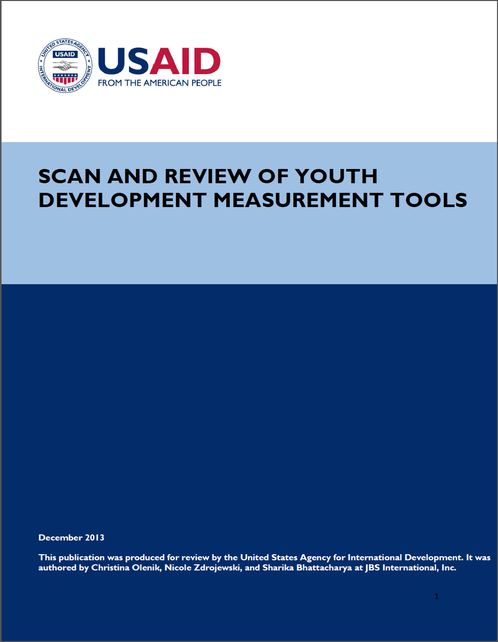 Scan and Review of Youth Development Measurement Tools