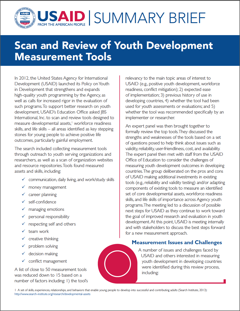 Summary Brief: Scan and Review of Youth Development Measurement Tools