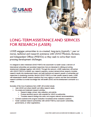 Long-Term Assistance and Services for Research (LASER)  One-Pager