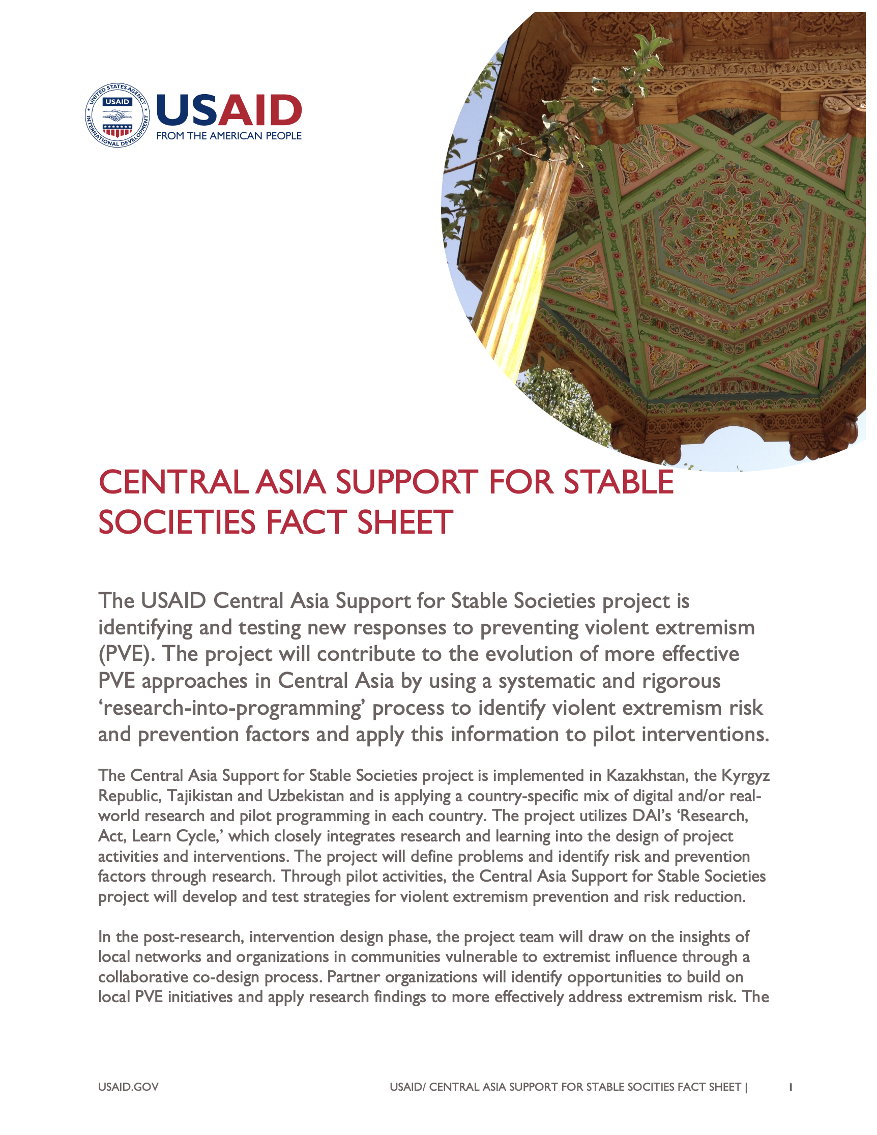 Central Asia Support for Stable Societies