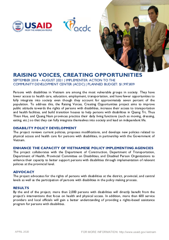 Fact Sheet: Raising Voices, Creating Opportunities