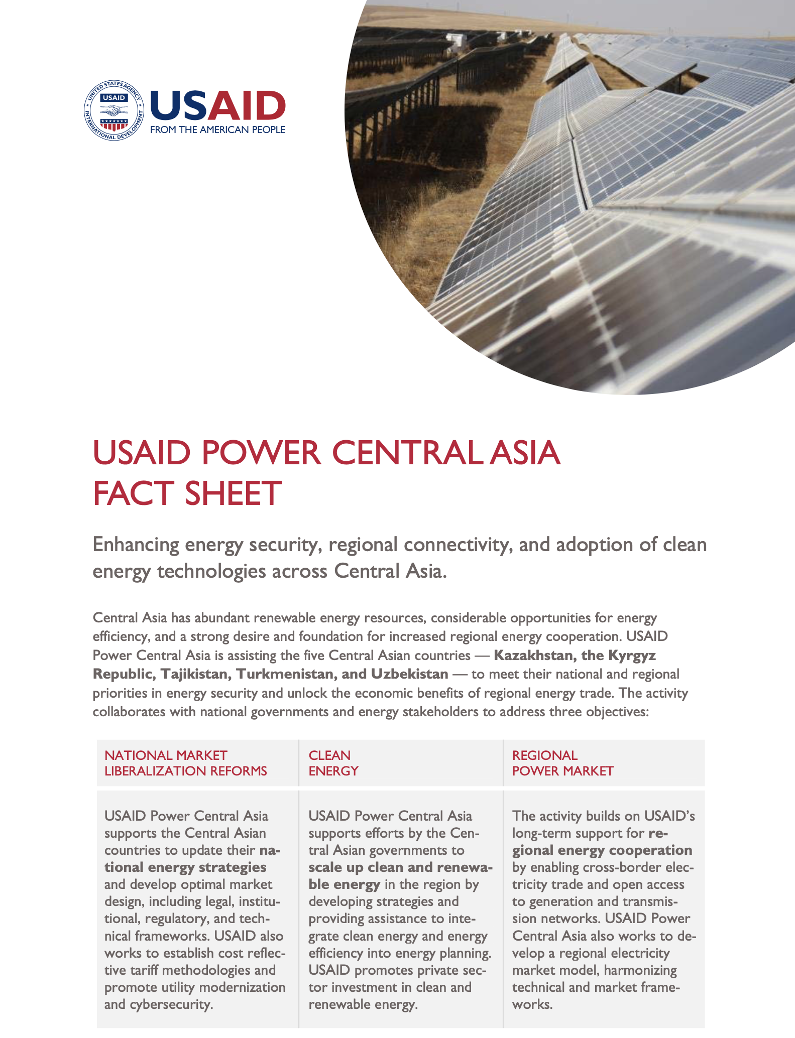 USAID Power Central Asia Fact Sheet