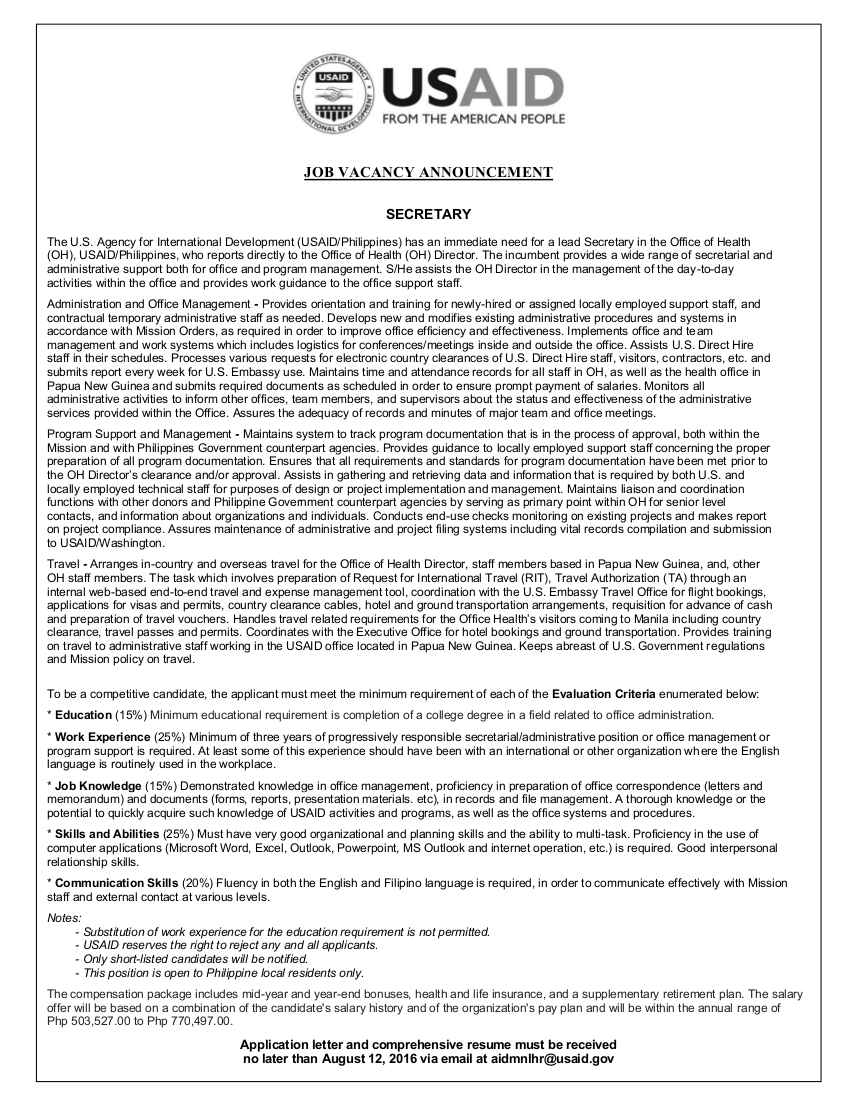 vacancy announcement for programme officer Organizational context: this is a generic vacancy announcement for three country programme officer positions in bamako, mali freetown, sierra leone & niamey, niger at the no-c level these positions are open only to nationals of mali, sierra leone, and niger respectively.