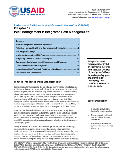 Sector Environmental Guideline: Integrated Pest Management (2009)
