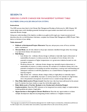 2-Day EC-ESDM Workshop - Session 7a: Exercise: Climate Risk Management Summary Table