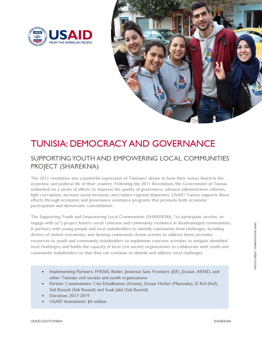 Supporting Youth and Empowering Local Communities (SHAREKNA) Fact Sheet - Click to download PDF