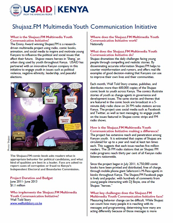 Printable Shujaaz FM Multimedia Youth Communications Initiative Fact Sheet_March 2013