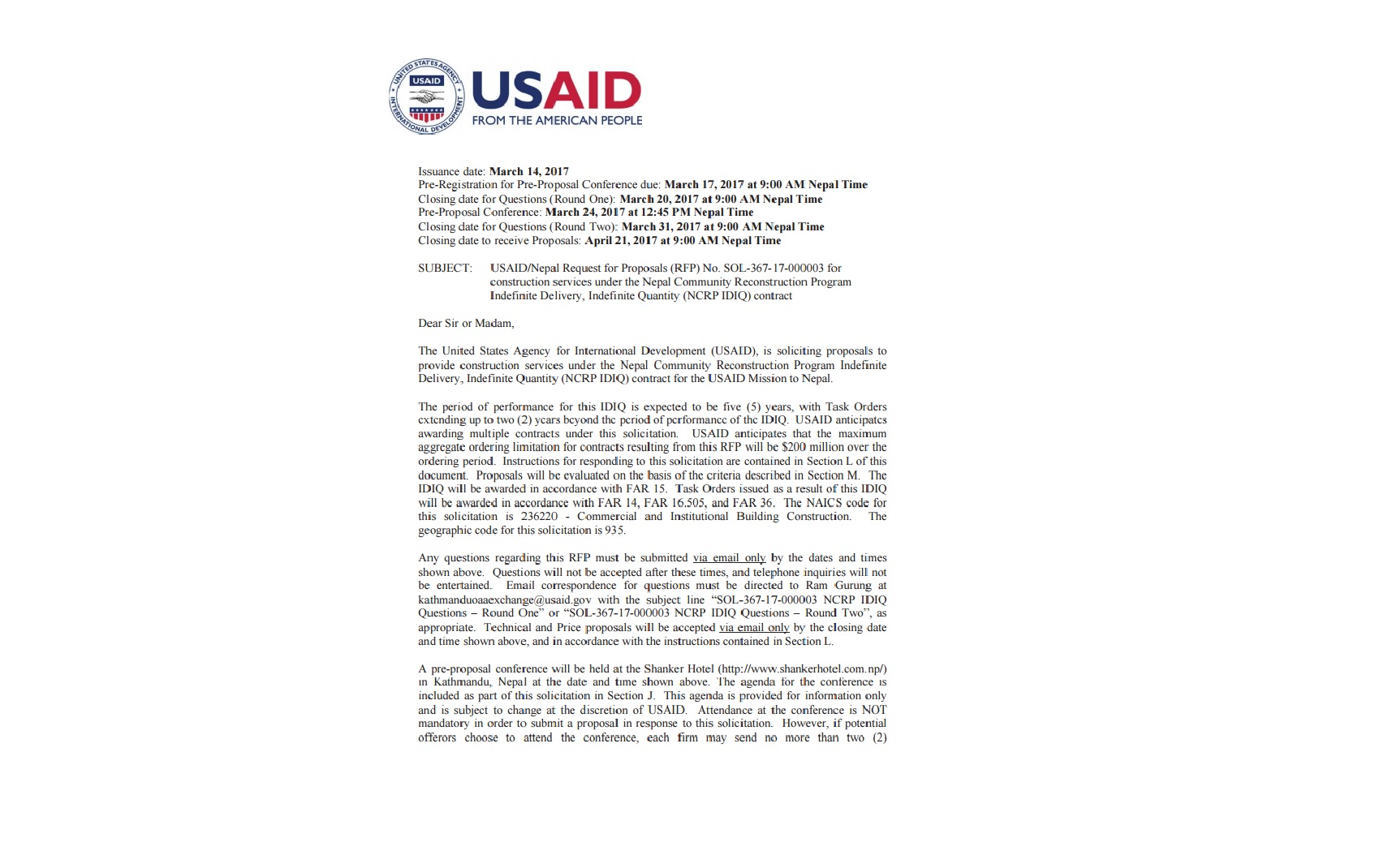 USAID/Nepal Request for Proposals (RFP) No. SOL-367-17-000003 for construction services under the Nepal Community Reconstruction Program Indefinite Delivery, Indefinite Quantity (NCRP IDIQ) contract