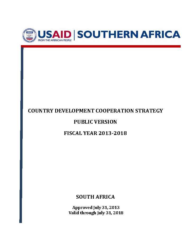 South Africa Country Development Cooperation Strategy 2013-2018